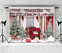 açık hava noel fotoğrafı arka plan toptan satış-Rüya için 7x5ft Noel Zemin Fotoğrafçılık Açık Ev Zemin Prop Aile Noel Fotoğraf Stüdyosu için Arka Ateş