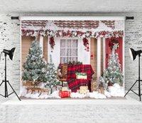 exterior, natal, foto, pano de fundo venda por atacado-Sonho 7x5ft Pano de Fundo de Natal para a Fotografia Ao Ar Livre Casa Pano de Fundo Prop Crianças Disparar Fundos para a Família de Natal Photo Studio