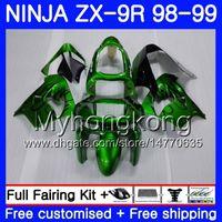 kawasaki ninja zx9 carenagem venda por atacado-Corpo Para KAWASAKI NINJA ZX 9 R ZX900 ZX9R ZX9R 98 99 00 220HM.43 ZX 900 900 CC ZX 9R 98 99 ZX-9R 1998 1999 2000 Kit de Carenagem Preto Verde
