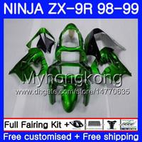 carénage zx9r 98 99 achat en gros de-Corps pour KAWASAKI NINJA ZX 9 R ZX900 ZX9 R ZX9R 98 99 00 220HM.43 ZX 900 900CC ZX 9R 98 99 ZX-9R 1998 1999 2000 Vert noir