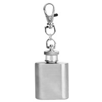 продажа фляг оптовых-OTOKY 2018 Hot Sale 1PC Silver 1oz Mini Stainless Steel Hip Flask Alcohol Flagon with Keychain For Gift Dropshipping Apr9
