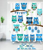 arbre salle de bain achat en gros de-Home Decor Chouettes mignons sur l'arbre Meilleurs amis pour toujours la conception pour le décor d'amitié pour les adolescents et les filles tapis de douche rideaux de douche