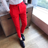 mens butik toptan satış-Mens Moda Butik Katı Renk Resmi Damat Düğün Elbise Suit Pantolon / Erkek Ince Resmi Iş Takım Elbise Pantolon / Erkek Pantolon