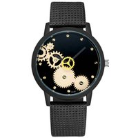 круглые мужские часы оптовых- Couple Hollow out watch Fashion Nylon strap Analog Quartz Round Wrist Watch Mens mechanical Watches