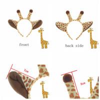 Wholesale stick dress up online - Plush Giraffe Hair Sticks Halloween Ears Headband Kids Animal Costume Fancy Cosplay Dress Up Hair Accessories Party Supplies AAA805
