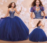 chaqueta de organza azul al por mayor-Hecho a medida Royal Blue Tulle vestido de fiesta vestido de quinceañera 2018 con chaqueta cariño rebordear dulce 16 vestidos del desfile Fiesta de baile lleva barato