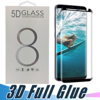 Wholesale black glue - Full Adhesive Glue Tempered Glass Case Friendly 3D Curved Screen Protector For Samsung S8 S9 Plus Note 8 S7 edge Black and Clear Color