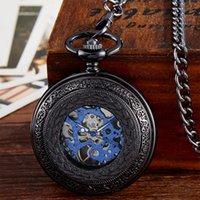 мужская механическая цепочка для часов оптовых- Black Mechanical Pocket Watch Men Vintage Hollow Hand Wind Fob Clock With Chain Pendant Men Women Gift