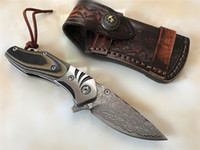 Wholesale fast shipping pocket knives resale online - Fast Shipping Flipper Folding Knife Damascus Steel Blade Micarta Handle EDC Pocket Knife Liner Lock With Leather Sheath EDC Gear