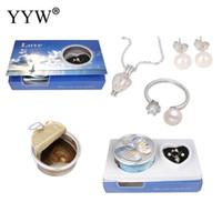 ingrosso anello naturale della perla reale-YYW Natural Real Shell Oyster Wish Pearl Kit anello per dito collana orecchino 100% perla d'acqua dolce ciondolo collana imposta donne mamma