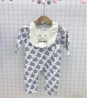 Wholesale Elephant Romper - 2018 INS new baby kids climbing romper o-neck long sleeve cute elephant print romper set boy kids Soda-Milk high quality rompers 0-2T