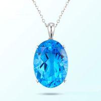 Wholesale blue topaz necklaces - 10~13.9 Natural Swiss Blue Topaz Pendant Necklace 9K18K White