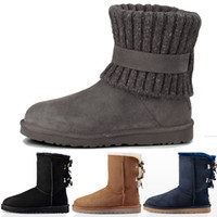 Wholesale mens leather calf boots for sale - Group buy New Designer Women Snow Boots Fashion High Quality Genuine Suede Leather Australia Classic Warm Winter botas Woman mens outdoors casual shoe