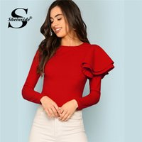 volver zip camisetas al por mayor-Sheinside Red Zip Back Ruffle One Sleeve Man 2018 Autumn Plain Women Fashion Clothes Office Ladies manga larga elegante camiseta