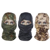 Wholesale bike cap hat headscarf - Wholesale-Camouflage Full Face Mask Quick-dry Hood Hunting Tactical Headscarf Balaclava Outdoor Bike Cycling Winter Warm Face Mask Hat