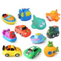 Wholesale children pool safety - Cool Bath Toy Pool Baby Toy Child Water Spray Colorful Fighter Submarine Train Car Boat Soft Rubber Toy Boy Girl Safety Material