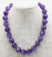Wholesale faceted amethyst beads - wholesale 12 14 16mm amethysts faceted round necklace 17.5inch FPPJ nature beads