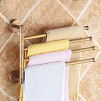 Wholesale towel rack bronze resale online - Towel Racks Antique Brass Layer Activities Towel Bar Holder Degree Rotation Wall Bathroom Accessories Hanger Shelf ST3304