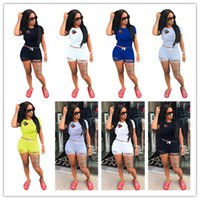Wholesale Girls Shirts Lips - Women Crown Lip Shorts Tracksuit Outfits Short Sleeve T Shirt Tops + Ripped Holes Pants 2PCS Set Sexy Sportswear Jogger Clothes S-3XL 2018