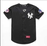 männer kurzhülse strickjacke großhandel-American Teen Paar lose Stickerei Strickjacke Männer Baseball-Uniform Hip-Hop Harajuku Damen T-Shirt Kurzarm
