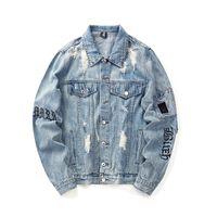 jaqueta de braçadeira venda por atacado-Buracos Braçadeira Hip Hop Denim Jean Casacos Homens Moda Homem Jaqueta Bomber Blusão Casaco Streetwear Casaco dos homens Vestido