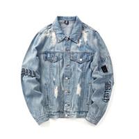 ingrosso giacca con bracciale-Holes Bracciale Hip Hop Denim Jean Giacche Uomo Moda Bomber Giacca uomo Giacca a vento da uomo Streetwear Coppie Vestito