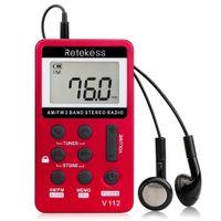 temporizadores de bolsillo al por mayor-Radio AM / FM portátil de bolsillo 2 banda Mini receptor de radio w / auricular Lanyard 1.5 pantalla recargable 500mAh batería Sleep Timer