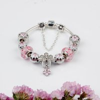 Wholesale cz crystal glass bead resale online - 925 Murano pink Glass Charm Bracelets Bead CZ Crystal Charms Dangle For Women Original DIY Jewelry Style Fit Pandora with