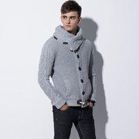 ingrosso uomini del tromba del cappotto-Maglione invernale uomo lavorato a maglia a maniche lunghe con collo alto maglione lavorato a maglia da uomo