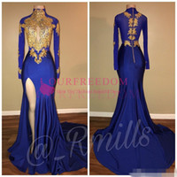 Hot selling 2018 Hot Sale Arabic Gold Appliques High Collar Prom Dresses Mermaid Vintage Long Sleeves Sexy High Thigh Split Black Girls Evening Gowns