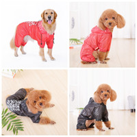 Wholesale rain protection cover - Thin Letters Hooded pet Raincoat Outdoor Walking Waterproof Red and Black Rain Cover Water Protection Clothes MMA110