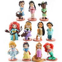 фигурка принцесс оптовых-Новый 11 шт./компл. принцесса Ариэль Русалка кукла девушка играть дом игрушки принцесса Рапунцель кукла рисунок игрушка торт украшения подарки