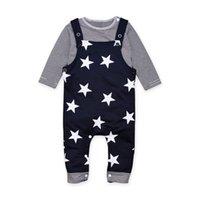kleinkind t-shirt druck großhandel-1-3T Baby stars print Overall-Outfits gestreiftes Langarm-T-Shirt mit Schulterknöpfen + dunkelblaue Sternenhosenträgerhose für Kleinkinder lässig