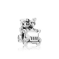 Wholesale High quality Sterling Silver Charms Original box for Pandora Vintage car Beads Charm Jewelry Bracelet DIY Making