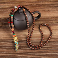 Wholesale Wood Necklaces For Men - WEIYU Nepal Buddhist Mala Wood Beads Necklaces Natural Stone Pendant Necklace Ethnic Horn Long Statement Necklace For Women Men