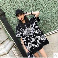 дизайн панк-майка оптовых-2018 новый дизайн моды женщин свободные палаццо с коротким рукавом череп звезды печати панк повседневная футболка платье короткое платье