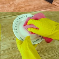 Wholesale hand wash dishes - Thin Cleaning Gloves Rubber Dish Washing Gloves Housework Kitchen Washing Gloves Waterproof Grain Design Protect Hands NNA184