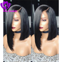 Wholesale wig short light blue - Side part Glueless Bob Wig Brazilian Straight Short Lace Front Wigs For Black Women heat resistant synthetic wig With Baby Hair