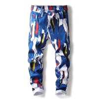 impresión digital jeans al por mayor-Los pantalones vaqueros flacos pintados de la marca de moda de los pantalones vaqueros elásticos 3D del diseñador de la impresión de Digitaces de la alta calidad
