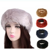 diadema de piel sintética de invierno al por mayor-10 colores Womens Faux Fur Headband Winter warm Black White Nature Girls Ear Warmer Ear Muffs D0686