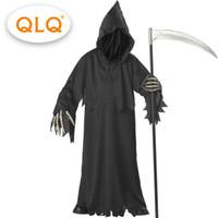 ingrosso reaper cosplay-Di alta qualità grim reaper costume con cappello maschere scheletro mani costumi adulti uomini halloween costumi scheletro cosplay