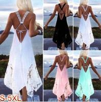 Wholesale sexy holiday clothes - Women A line Dresses Summer Lace Sexy Backless Dress Beach Holiday Seaside Clothing Dress