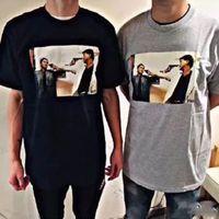ingrosso tee marca a marchio-18FW SPM-The Killer Bloody Duo T-shirt a doppio marchio New Retro High Fashion a maniche corte per uomo e donna Coppia T-shirt bianca e nera HFSSTX073
