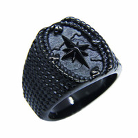 Wholesale Mens Anchor Rings - whole saleDrop Ship 2018 Nautical Map Anchor Ring Bad Ass Mens Jewelry Black Cross Anchor Ring