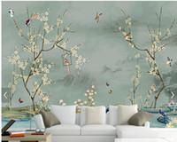 ingrosso disegnando pareti della camera da letto-Carta da parati dell'uccello su ordinazione, abbozzo disegnato a mano Murali dell'uccello e del fiore per la carta da parati della decorazione della parete del contesto del sofà della camera da letto del salone