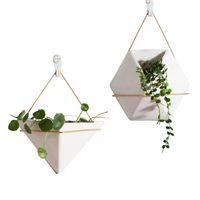 senkrechten wandpflanzer großhandel-Keramik Whiteware geometrische Form Mode moderne vertikale Wand Pflanzer selbst Bewässerung hängen Garten Blumentopf Pflanzer für Indoor / Outdoor