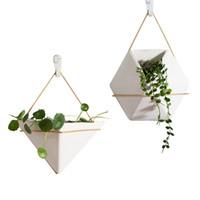 kapalı açık kaplar toptan satış-Seramik Beyaz Eşya Geometrik Şekil Moda Modern Dikey Duvar Ekici Kendinden Sulama Asılı Bahçe Saksı Ekici için Kapalı / Açık