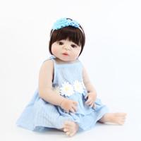 poupée bébé fille achat en gros de-55 cm Plein Silicone Reborn Fille Bébé Poupée Jouet Vinyle Nouveau-né Princesse Toddler Bébés Vivant Bebe Play House Bathe Jouet Enfants Boneca