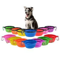 Wholesale travel dishes - Portable Silicone Collapsible Dog Bowl Cat Puppy Pet Feeding Travel Bowl with Carabiner Easy Carry Pet Food Bowl Feeder Dish w Hook b1139-1