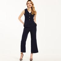 düğme bacağı toptan satış-Yaz Spagetti Kayışı Seksi Tulum Ayak Bileği Uzunlukta Pantolon Sling Tankı Mavi Resmi Düğme Romper Ofis Lady Geniş Bacaklar Ince Bodysuit